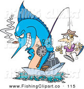 Clip Art of a Blue Marlin Smoking a Cigar and Reeling in a Man on a Hook by Toonaday