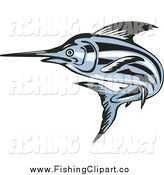 Clip Art of a Blue Swordfish by Patrimonio