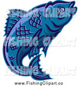 Clip Art of a Blue Trout Leaping by Seamartini Graphics