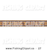Clip Art of a Border Design Element; Fishing Lures on Wood on White by