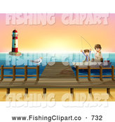 Clip Art of a Boy and Dad Fishing by a Lighthouse and Dock at Sunrise by Graphics RF