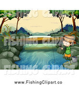 Clip Art of a Boy Fishing at a River by Graphics RF