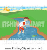 Clip Art of a Boy Wading in the River and Trying to Catch a Fish with His Bare Hands by Prawny