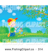 Clip Art of a Bright Picture of a Child Boy Fishing in a Pond by Alex Bannykh
