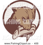 Clip Art of a Brown Bear with a Fish in His Mouth over a Brown Circle by Patrimonio