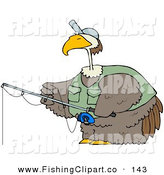 Clip Art of a Brown Bird Wearing a Hat and Vest While Fishing by Djart