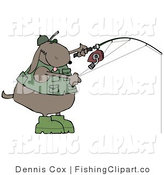 Clip Art of a Brown Dog in a Green Vest and Hat, Fishing by Djart