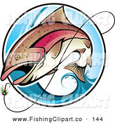 Clip Art of a Brown Fish Leaping out of a Blue Wave to Bite a Lure by TA Images