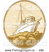 Clip Art of a Brown Retro Fishing Boat at Sea Logo by Patrimonio