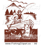 Clip Art of a Brown Scene of a Fisherman Sitting in a Boat, Reeling in a Fish on a Mountainous Lake by Patrimonio