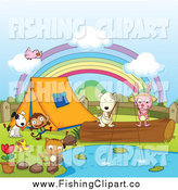 Clip Art of a Camping Animals Around a Pond by Colematt