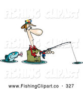 Clip Art of a Cartoon Fish Sticking His Tongue out at a Wading White Fisherman by Toonaday