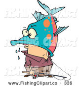 Clip Art of a Cartoon Fisherman Being Eaten by a Big Fish by Toonaday