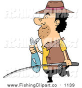 Clip Art of a Cartoon Fisherman Carring a Pole and Fish by BNP Design Studio