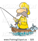 Clip Art of a Cartoon Fisherman in Yellow Rubber Gear Standing in His Boat by Toonaday
