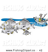 Clip Art of a Caucasian Fisherman in a Boat, Fishing for Bream Fish by Dennis Holmes Designs