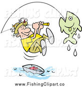 Clip Art of a Caucasian Male Fisherman Leaping from His Boat to Reel in a Fish by Johnny Sajem