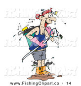 Clip Art of a Caucasian Wet Man with Fishing Gear by Dennis Holmes Designs