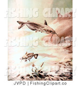 Clip Art of a Channel Catfish Swimming by a Crawdad and Fishing Hook in the Fresh Water River by JVPD