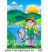 Clip Art of a Cheerful Boy Holding His Fishing Pole and Catch near a Lake by Visekart