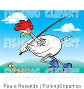 Clip Art of a Chicken with a Fishing Pole Chasing a Worm by Paulo Resende