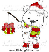 Clip Art of a Christmas Polar Bear Holding a Gift on a Fishing Pole by BNP Design Studio