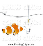 Clip Art of a Clownfish and Fishhook Under the Waters Surface by