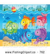 Clip Art of a Colorful Fish Under a Hook and Bobber by Visekart