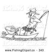 Clip Art of a Coloring Page of a Fish Tugging on a Man by Toonaday