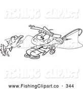 Clip Art of a Coloring Page of a Fishing Boy Reeling in a Fish by Toonaday