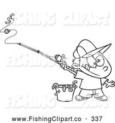 Clip Art of a Coloring Page of a Fishing Boy with a Bucket of Worms by Toonaday