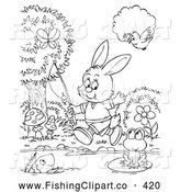 Clip Art of a Coloring Page of a Happy Rabbit Going Fishing by Alex Bannykh