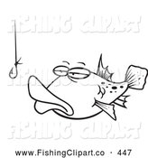 Clip Art of a Coloring Page of a Tempted Fish Staring at a Hook by Toonaday