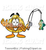 Clip Art of a Construction Hard Hat Mascot Cartoon Character Holding a Fish on a Fishing Pole by Toons4Biz