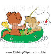 Clip Art of a Couple of Puppies Fishing in a Raft by Alex Bannykh