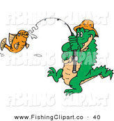 Clip Art of a Crocodile Reeling in an Orange Fish by Dennis Holmes Designs