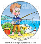 Clip Art of a Cute Boy Standing by a Pail and Fishing on the Shore by Alex Bannykh