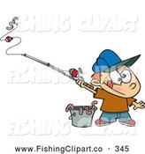 Clip Art of a Cute Cartoon Fishing Boy with a Bucket of Worms by Toonaday