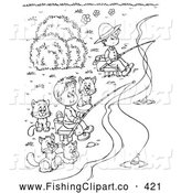 Clip Art of a Cute Coloring Page Outline of Boys and Cats Fishing by Alex Bannykh