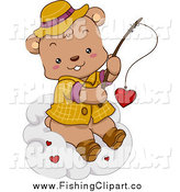Clip Art of a Cute Fishing Bear Reeling in a Valentine Heart on a Cloud by BNP Design Studio