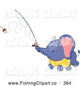 Clip Art of a Cute Friendly Fishing Elephant by BNP Design Studio