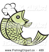 Clip Art of a Cute Retro Chef Fish Logo by Patrimonio