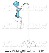 Clip Art of a Denim Blue Design Mascot Man Fishing on a Cliffside by Leo Blanchette
