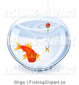 Clip Art of a Depressed Captive Goldfish and Worm in a Bowl by Oligo