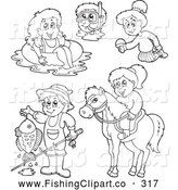 Clip Art of a Digital Collage of Coloring Page Outlines of Recreations - Horseback Riding, Fishing, Swimming, Snorkeling by Visekart