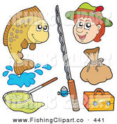 Clip Art of a Digital Collage of Fishing and Fisherman Items by Visekart