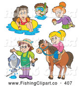 Clip Art of a Digital Collage of Fun Summer Recreation Activities (Fishing, Horseback Riding, Swimming) by Visekart