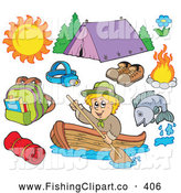 Clip Art of a Digital Collage of Summer Recreation and Camping (Fishing, Rafting, Swimming, Tent, Campfire, Hiking, Backpacking) by Visekart
