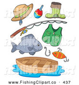 Clip Art of a Digital Collage of Various Fishing Gear by Visekart