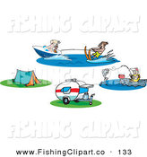 Clip Art of a Digital Set of People Fishing and Waterskiing and Camp Sites by Dennis Holmes Designs